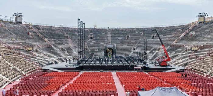 View of the stage at the Arena in Verona