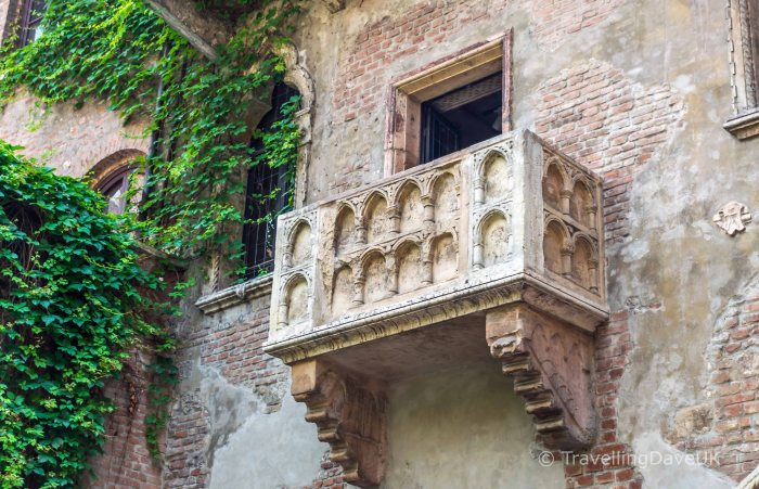 View of the famous Juliet's Balcony in Verona