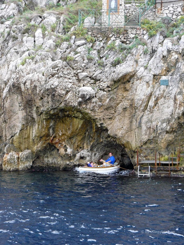 Boat by the Blue Grotto entrance