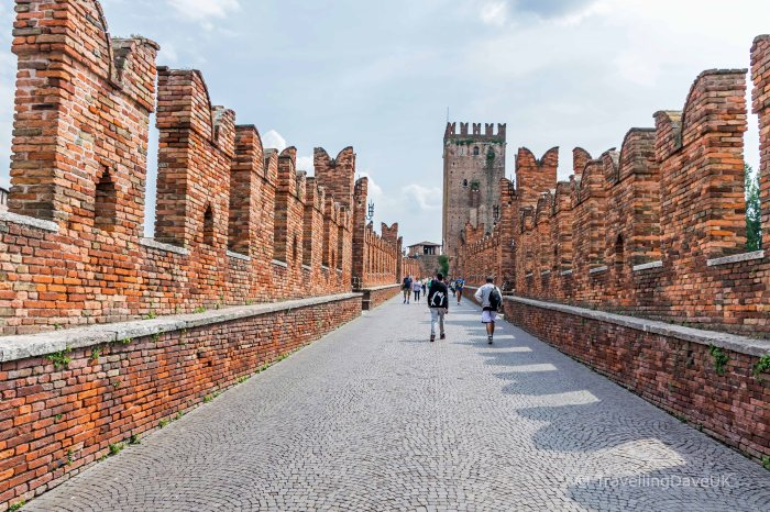 People on the Castelvecchio Bridge in Verona