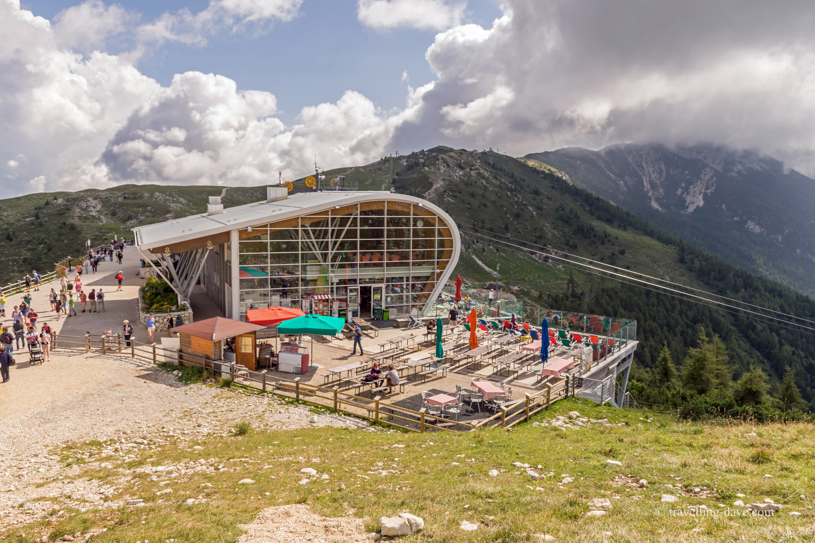 View of the upper station of Monte Baldo cable car