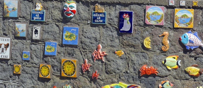 Outside one of Ischia's ceramics shops