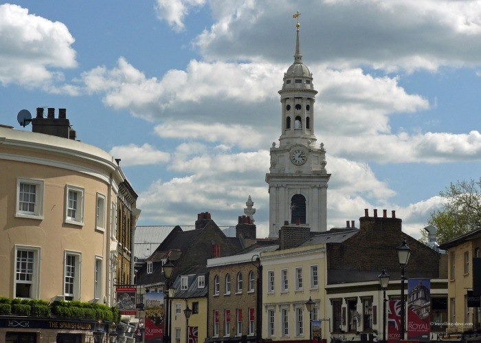 Church and buildings in Greenwich