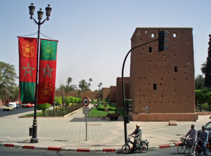 Flags by the city walls in Marrakech