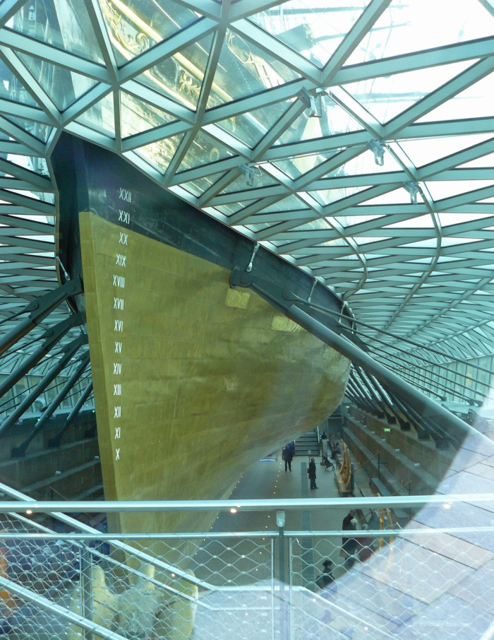 View of the restored hull of the Cutty Sark