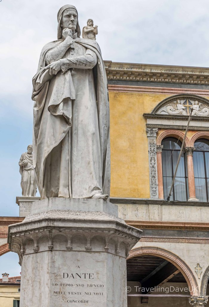 View of a statue of the poet Dante in Verona