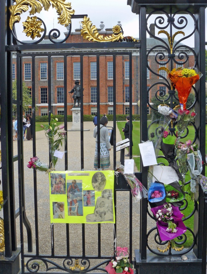 Tributes to Princess Diana left at Kensington Palace gates