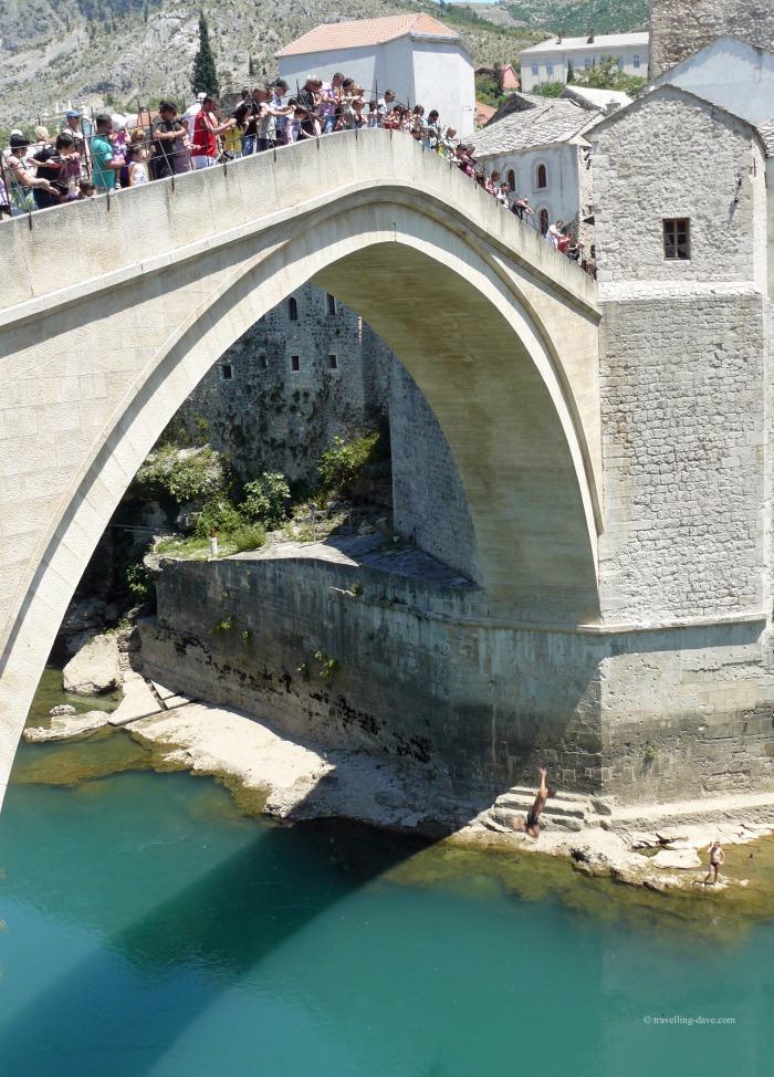 One of Mostar divers leaping from the Old Bridge