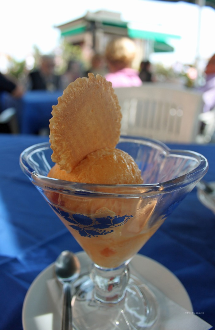 Ice-cream in a glass bowl in Italy