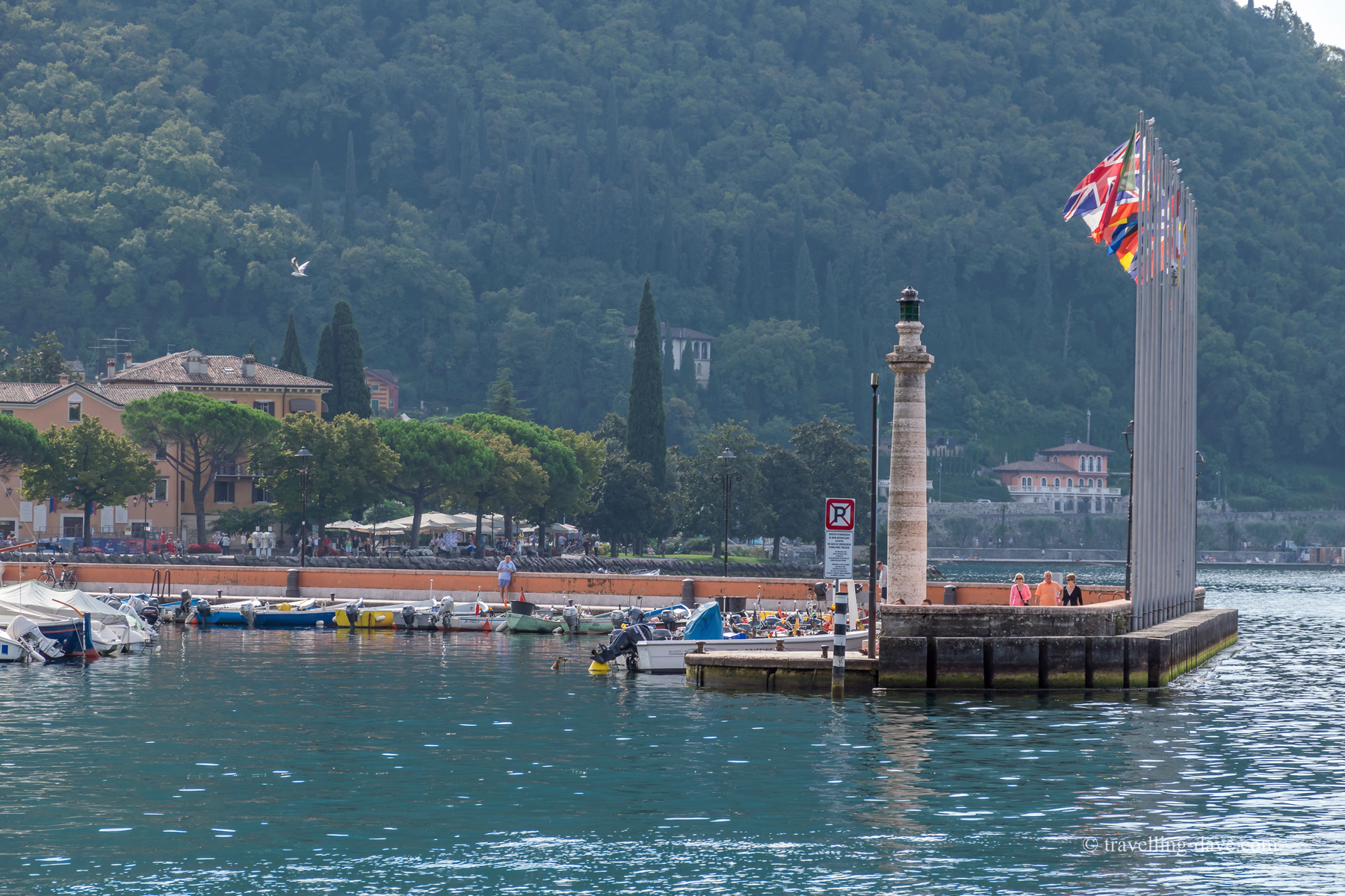 View of the lighthouse at Garda's harbour in Italy