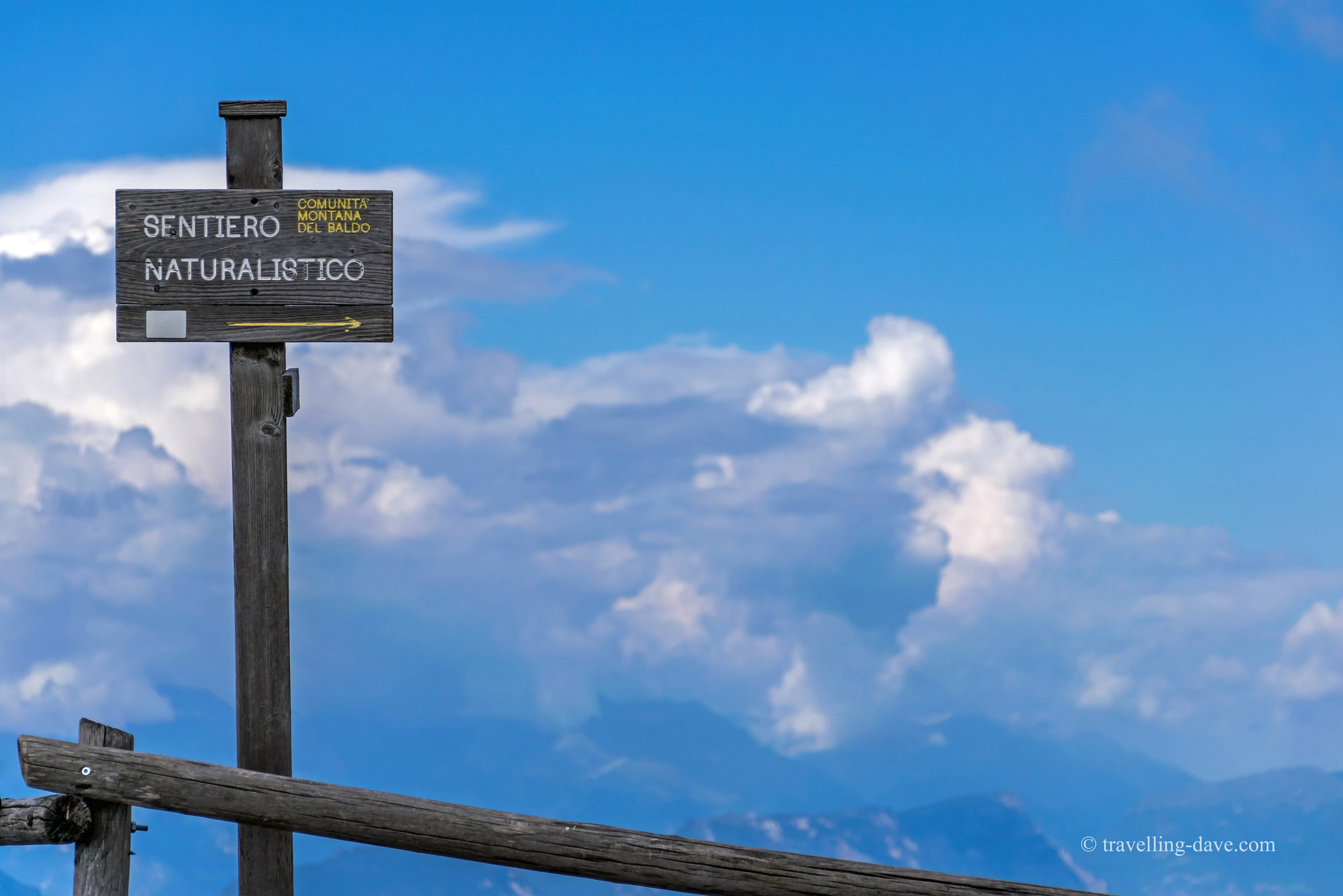 Monte Baldo hiking paths sign