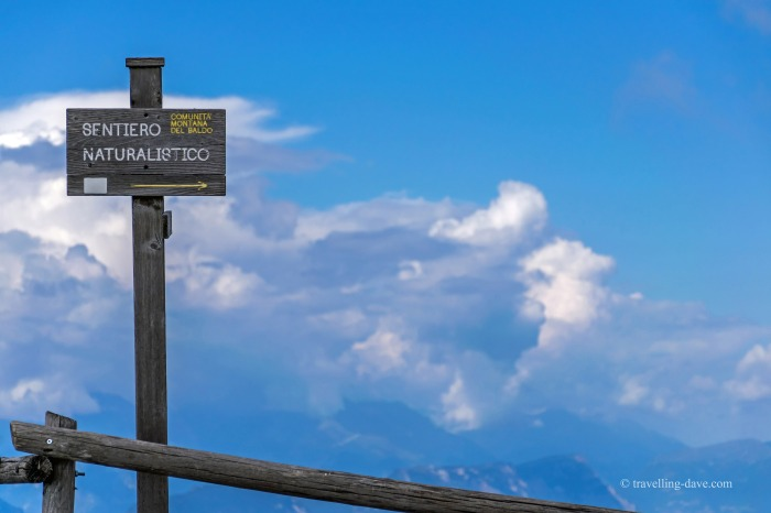 Monte Baldo hiking paths sign