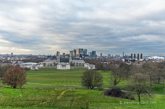 View of the Queen's House and Canary Wharf in London