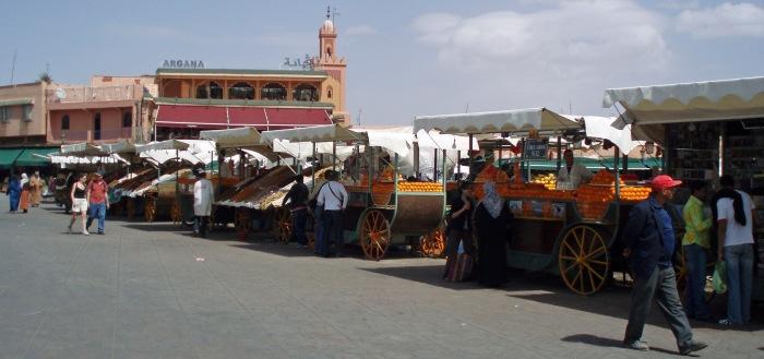 Market stalls in Marrakech Jemaa-el-Fnaa