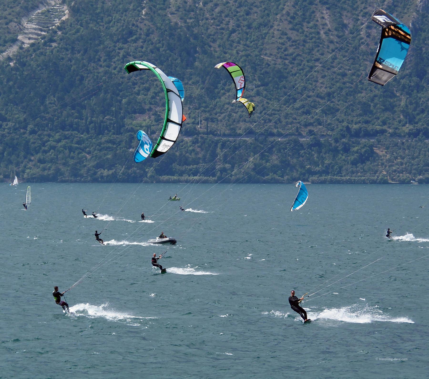 Kitesurfers on the lake in Italy