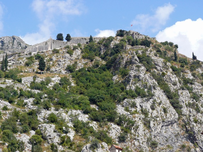 Looking up at St.John's Fortress in Kotor