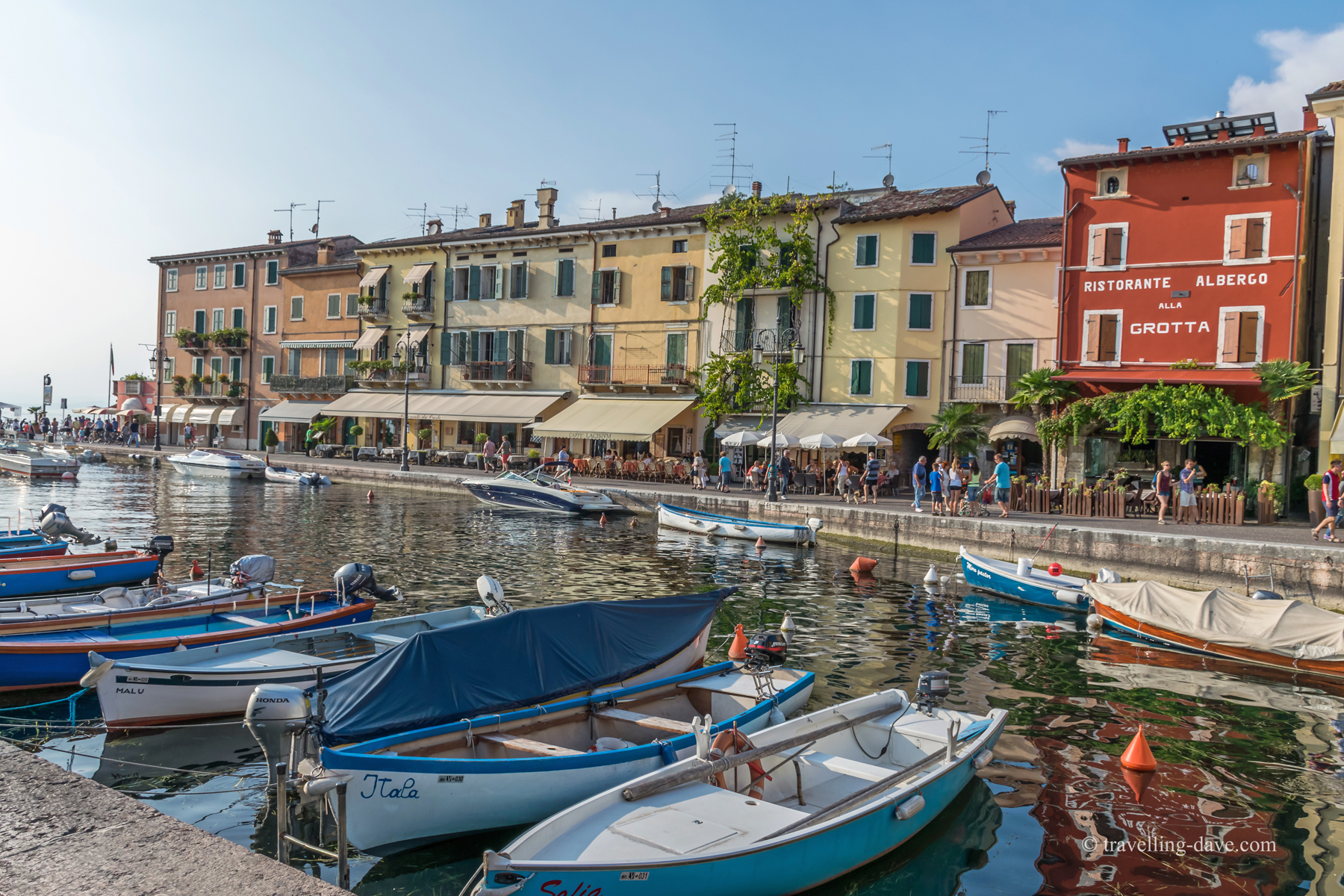 Boats in the harbour in Lazise in Italy