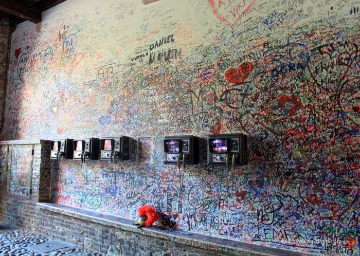 Graffiti on the walls outside Juliet's House in Verona