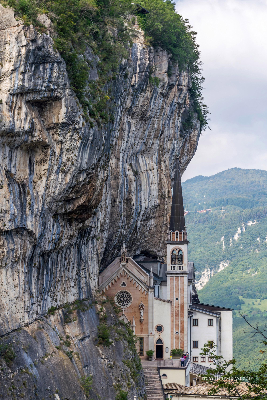 View of the sanctuary of Madonna della Corona in Italy