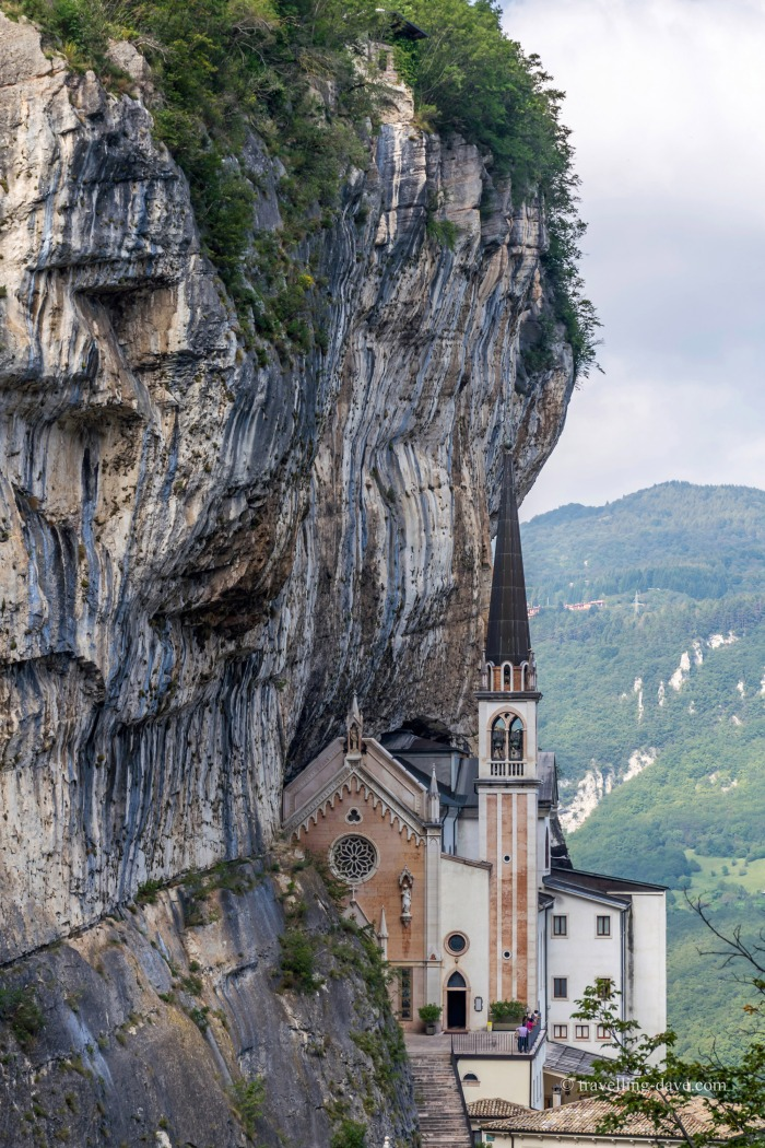 View of the sanctuary of Madonna della Corona in Italy