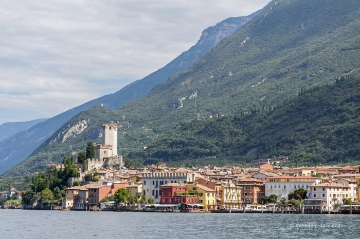 View of Malcesine and its castle in Italy
