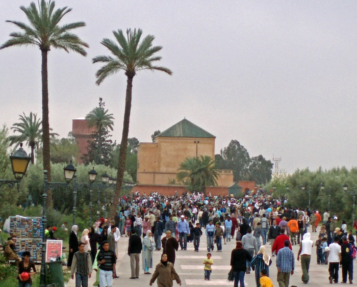 Crowds at Marrakech Menara Gardens
