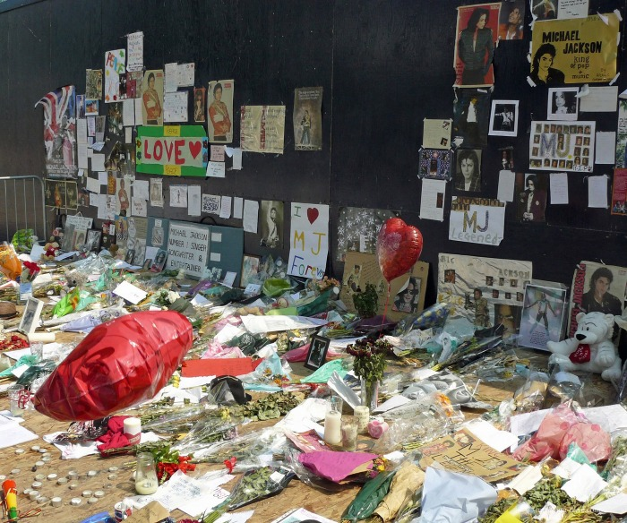 Tributes to Michael Jackson outside the O2 in Greenwich