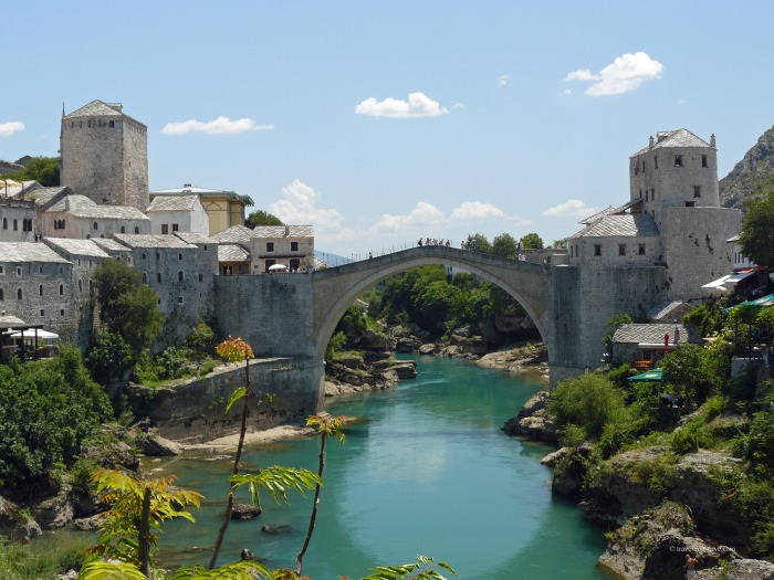 View of the river Neretva and Mostar Old Bridge