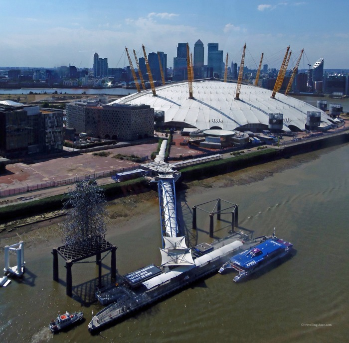 Aerial view of the O2 in London