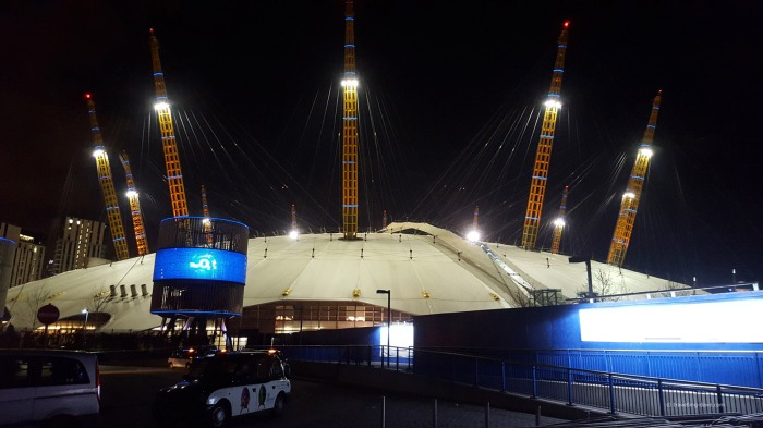Night view of the O2 in London