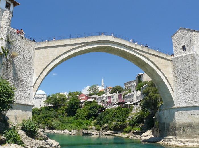 View of the famous Old Bridge in Mostar