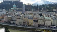 View from across the river of Salzburg Old Town