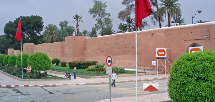 View of the city walls in Marrakech