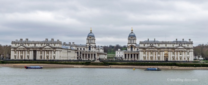 View from across the river Thames of the Old Royal Naval College in Greenwich