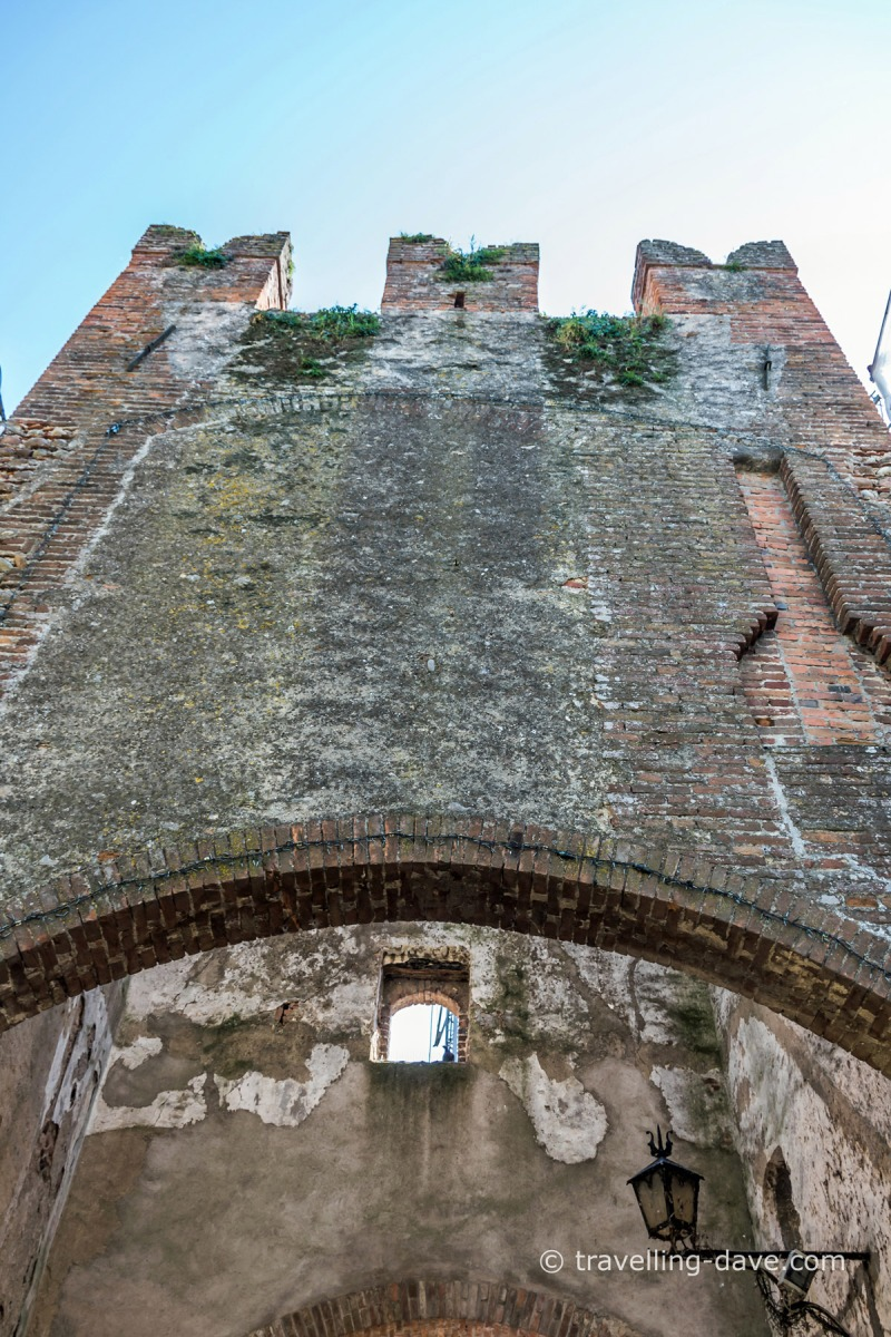 Looking up at Borghetto sul Mincio tower