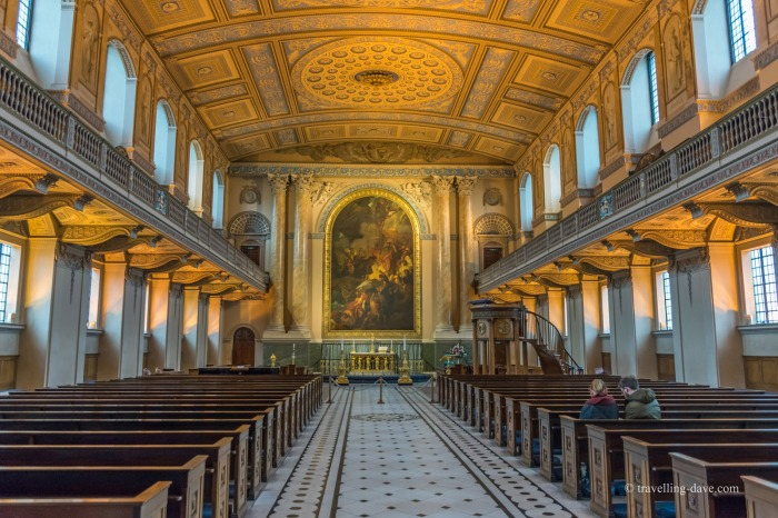 Inside the chapel of the Old Royal Naval College in Greenwich