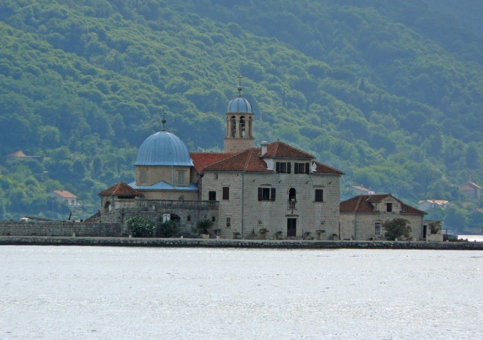 View of the church of Our Lady of the Rock in Montenegro