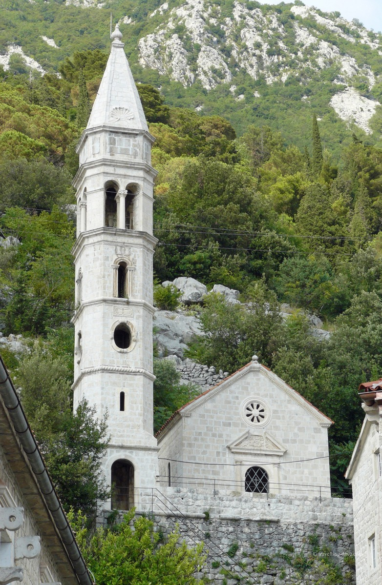 View of Perast Our Lady of the Rosary church