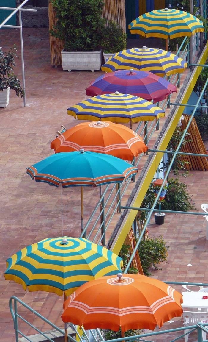 Sun umbrellas on the island of Capri