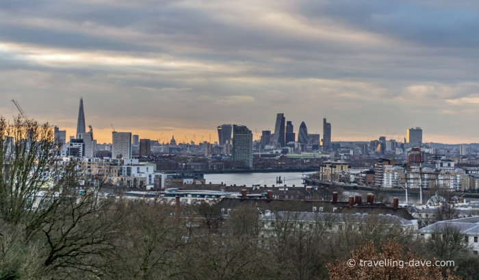 View from the top of the hill at Greenwich Park in London