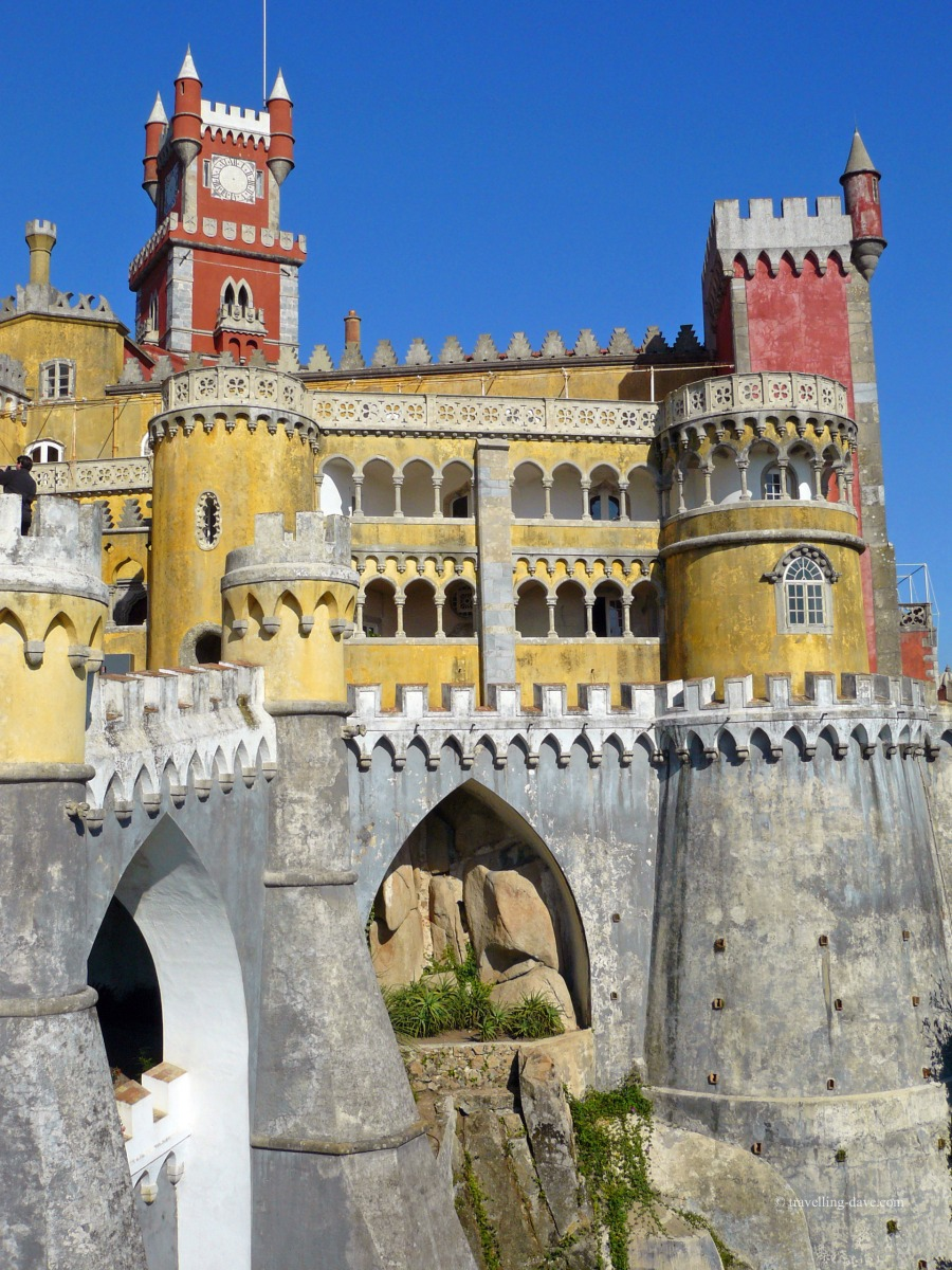Colorful buildings and towers at Sintra Pena National Palace