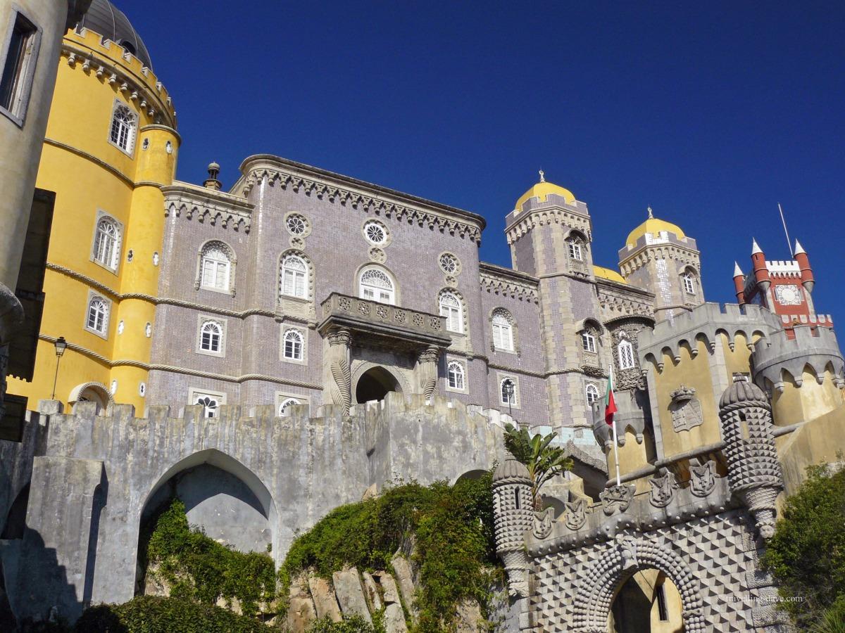Looking up at Sintra Pena National Palace