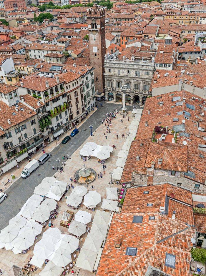 Aerial view of Piazza Erbe in Verona