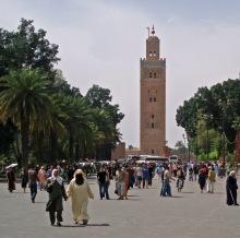 People walking in Place de Foucault in Marrakech
