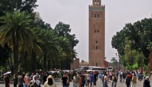 People walking in Place de Foucault in Marrakech