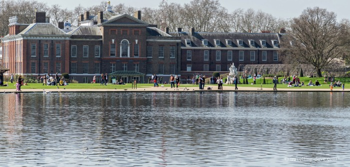 View of Kensington Palace and pond in London