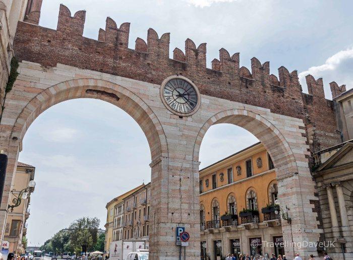View of Verona city gate Portoni della Bra