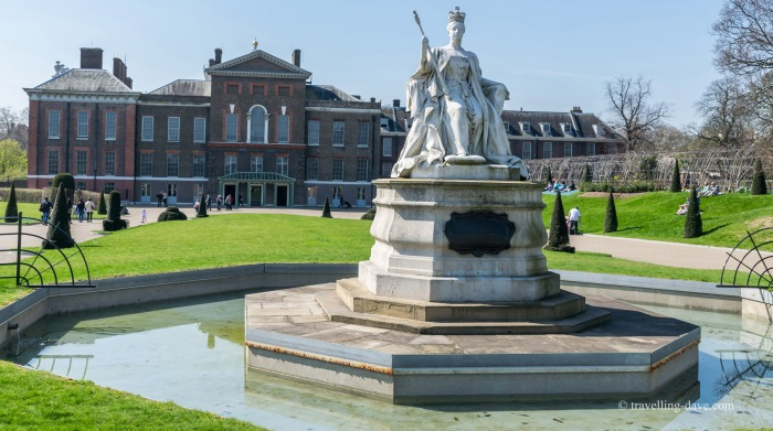 View of the statue of Queen Victoria outside Kensington Palace