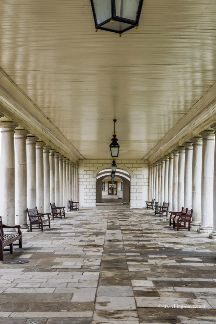 Looking down the Queen's House colonnade in Greenwich