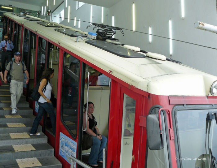 People on Capri's funicular